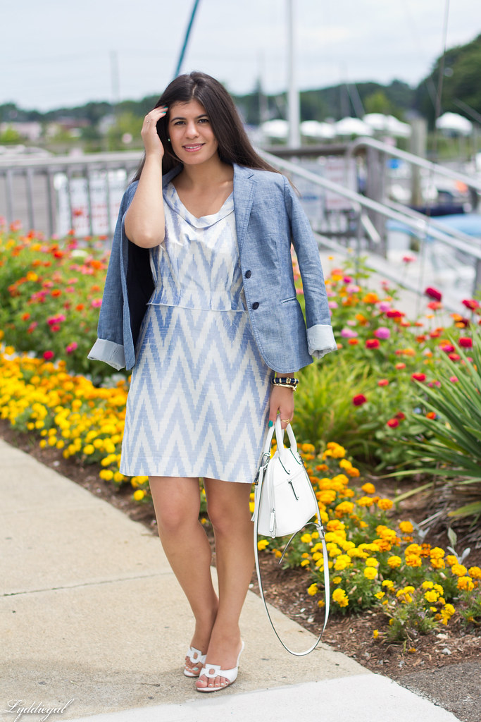 chevron dress, chambray blazer.jpg