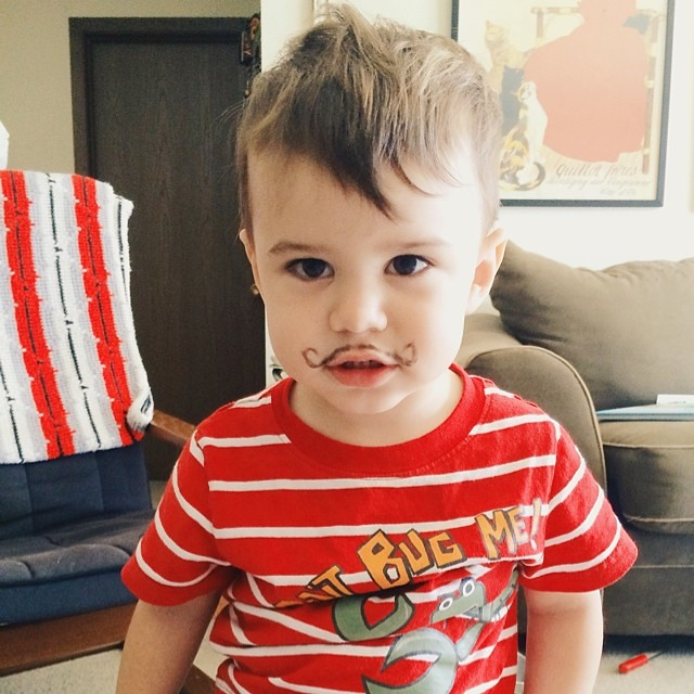 Got himself a new handlebar. #instaluther #toddler #mustache #handlebarmustache #stache