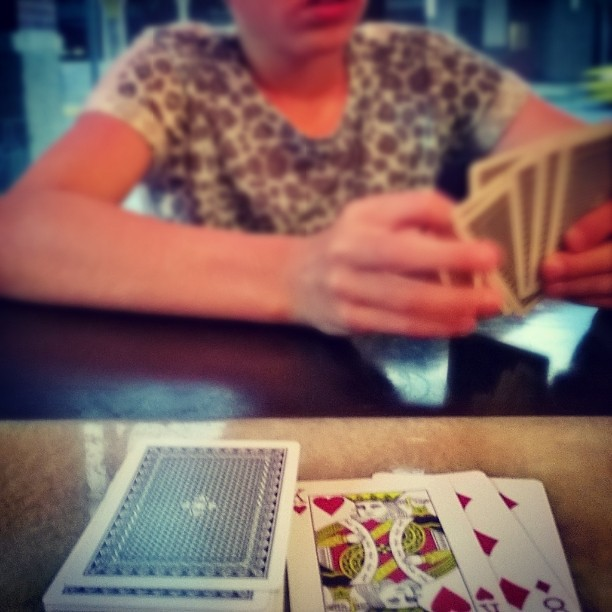 Playing cards with just-back-from-Chelan-H in the hotel bar