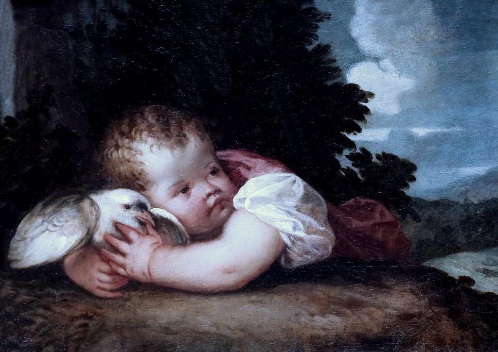 IMG_9740A Tiziano Vecellio. (Le Titien. Titian)  1488-1576.  Venise.  Un garçon avec un oiseau.  A boy with a Bird. Vers 1520. Londres. National Gallery.