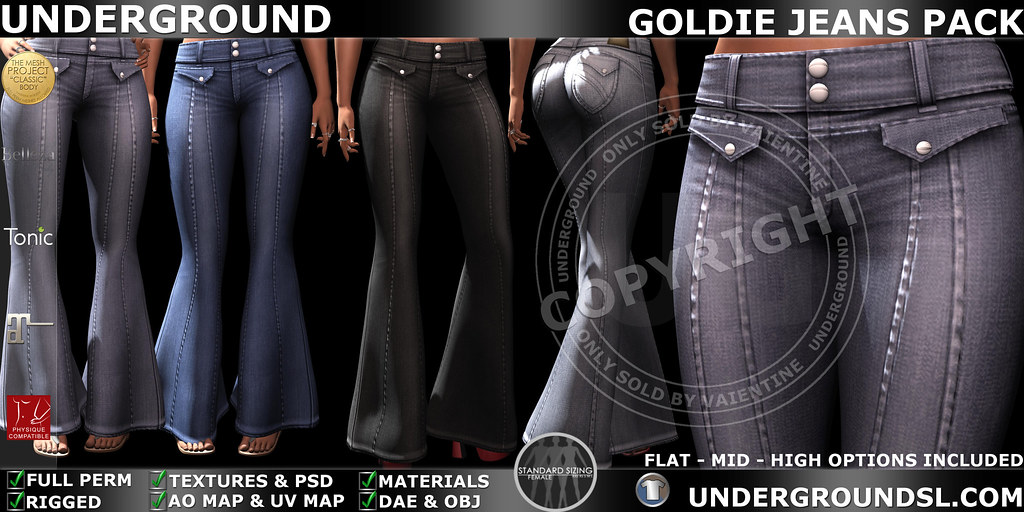 UG MESH GOLDIE JEANS PACK MP - SecondLifeHub.com