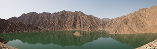 Image of Hatta Dam. blue uae abu dhabi dubai desert hatta dam moon animal wildlife dune bashing hiking travel holiday sun hot 4x4 cars water emirati