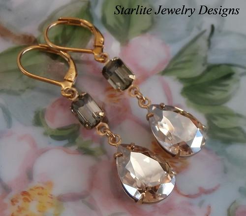 Vintage Swarovski Crystal Earrings ~ Hollywood Glam ~ Bridesmaids Earrings ~ Weddings Bridal Brides Bridesmaids Earrings Jewelry