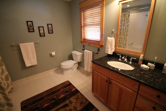 Master bathroom with jetted tub and granite counter tops