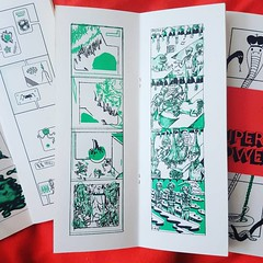 My strip centre left for Vincent Fritz @vncntfrtz superb anthology Super Towers! Printed with black and green risograph inks and featuring one of the most eclectic yet cohesive curations for print yet of 2017. On my right is Lief Goldberg @national_waste