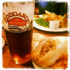Crab baguette and Isle of Wight Goddards ale