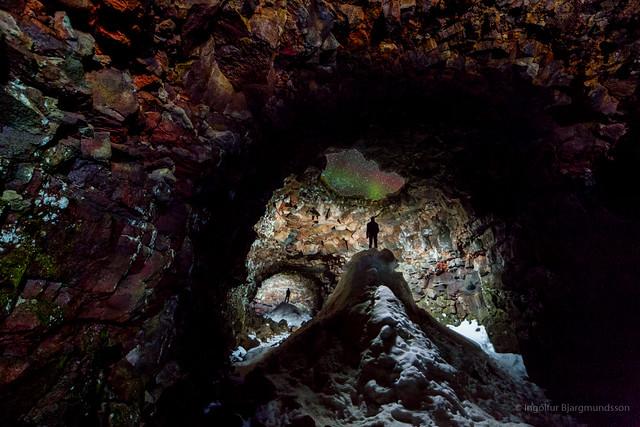 Cave With Aurora Skylight.