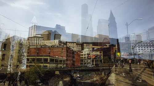 seattle city buildings washington downtown cityscape doubleexposure multipleexposure pacificnorthwest pnw ricohgr smithtower columbiatower kingstreetclocktower
