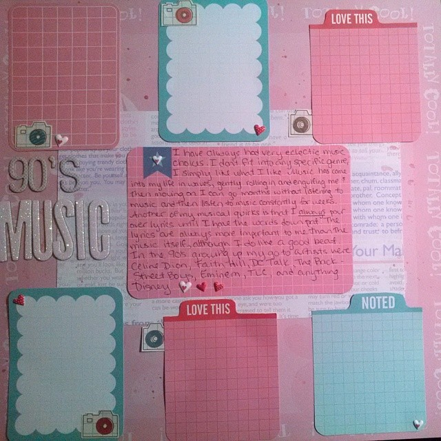 Scrapbooking layout about my favorite music growing up for LOAD514