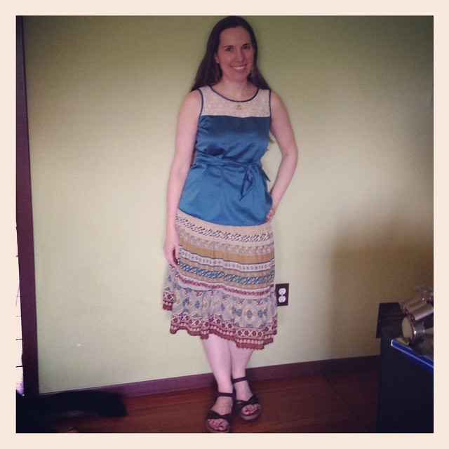 Not my best look, but I had to pack the outfit so I didn't have other options. Me-made skirt, refashioned top and belt. #mmay14