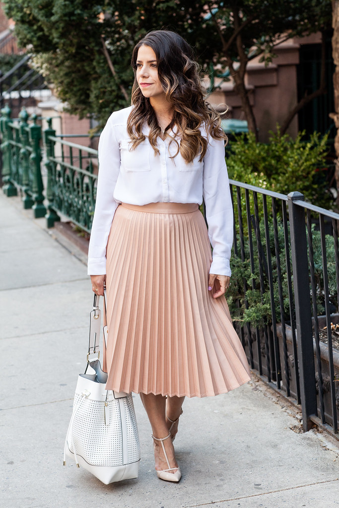 b_a_midi skirt white shirt zara outfit jcrew necklace workwear fashion blogger zara heels bucket bag white bag professional work outfit