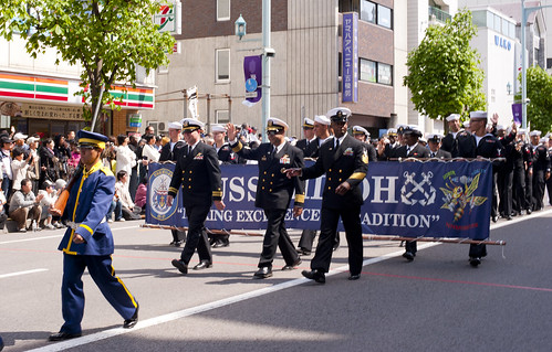 HAKODATE, Japan - Sailors from the Ticonderoga-class cruiser USS Shiloh (CG 67) led by Commanding Officer Kurush F. Morris marched in Hakodate, Japan Goryokaku Castle's 150th Anniversary Parade.