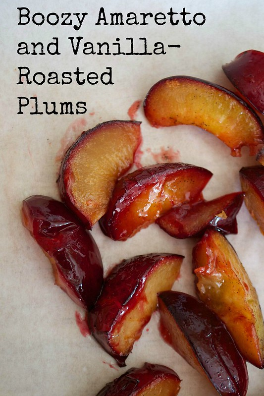 amaretto and vanilla roasted plums