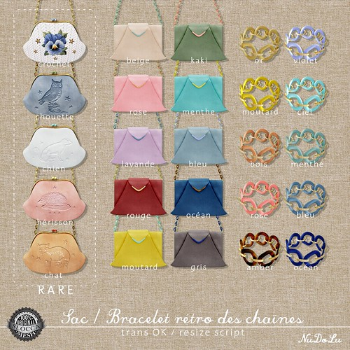 NuDoLu Sac Bracelet retro des chaines all colors
