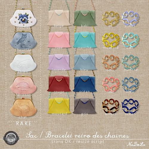 NuDoLu Sac Bracelet retro des chaines all colors