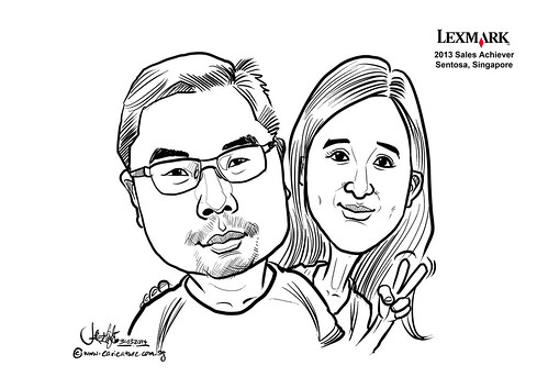 digital couple caricatures for Lexmark - Ricky Lee