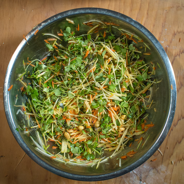 A Simple Spicy Spring Salad salad hot sauce