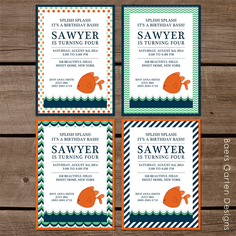 Goldfish party printables and invitation