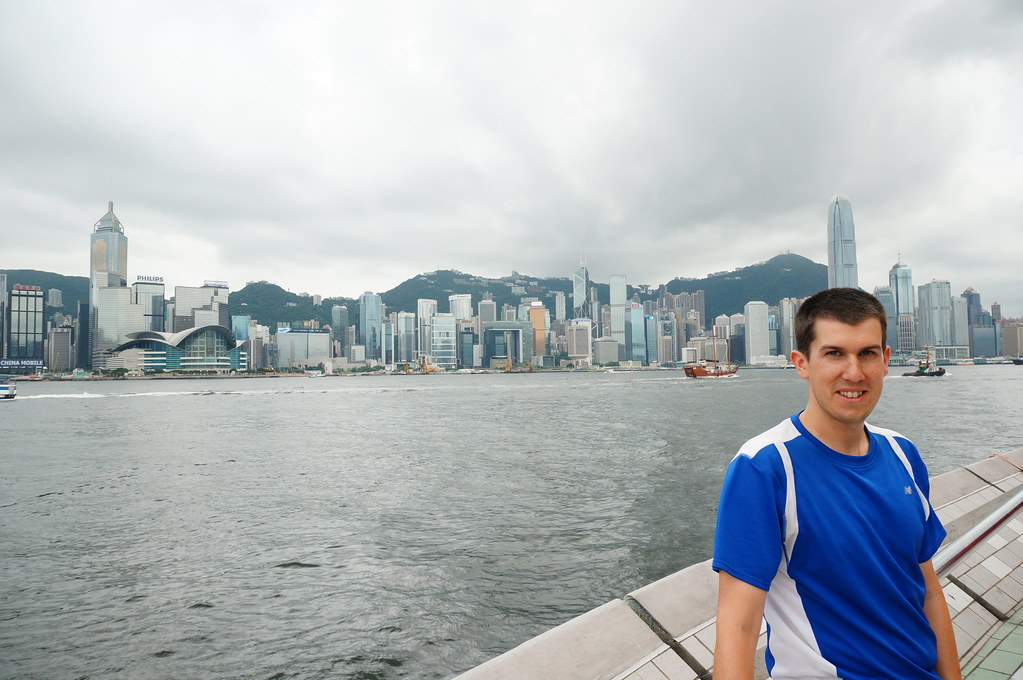 Andrew in front of Victoria Harbour