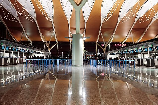China / Shanghai / Pudong Airport at night