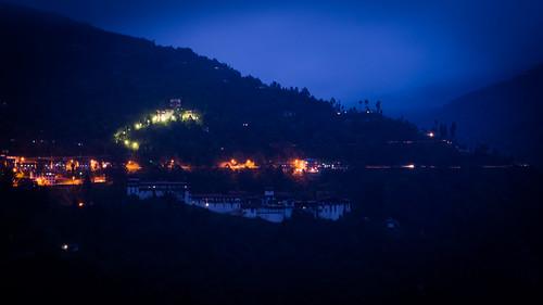 Trongsa Dzong at night