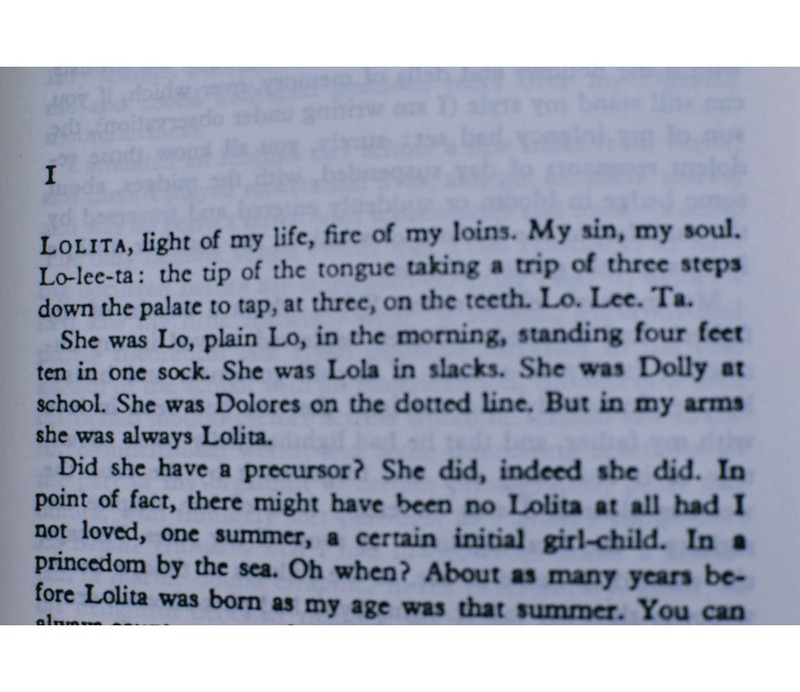 The first lines from 'Lolita'