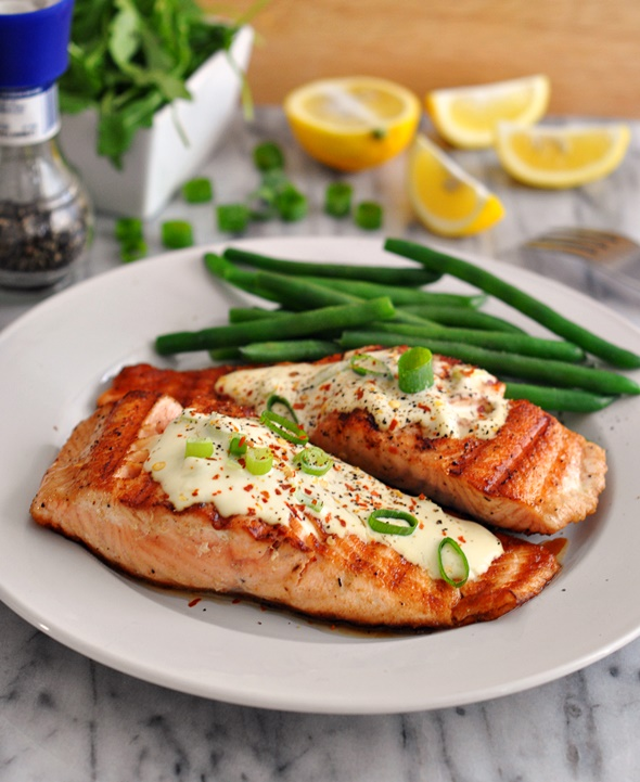 Grilled Salmon Fillets with Wasabi and Lemon Cream Sauce | Amazing First Date Dinner Recipes | easy meals to cook for boyfriend