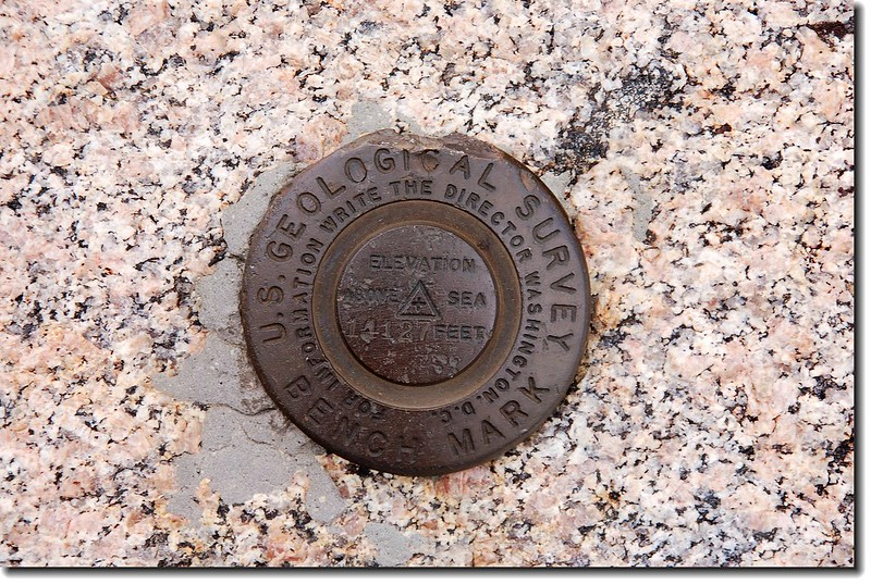 Benchmark on  summit parking lot