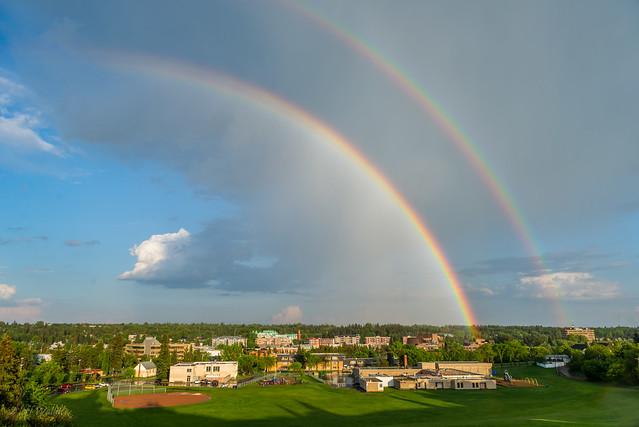 town, sky, rainbow