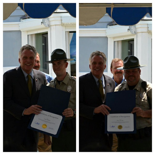 Ranger Smelser (left) and Ranger DeMay (right) were presented awards from the Governor