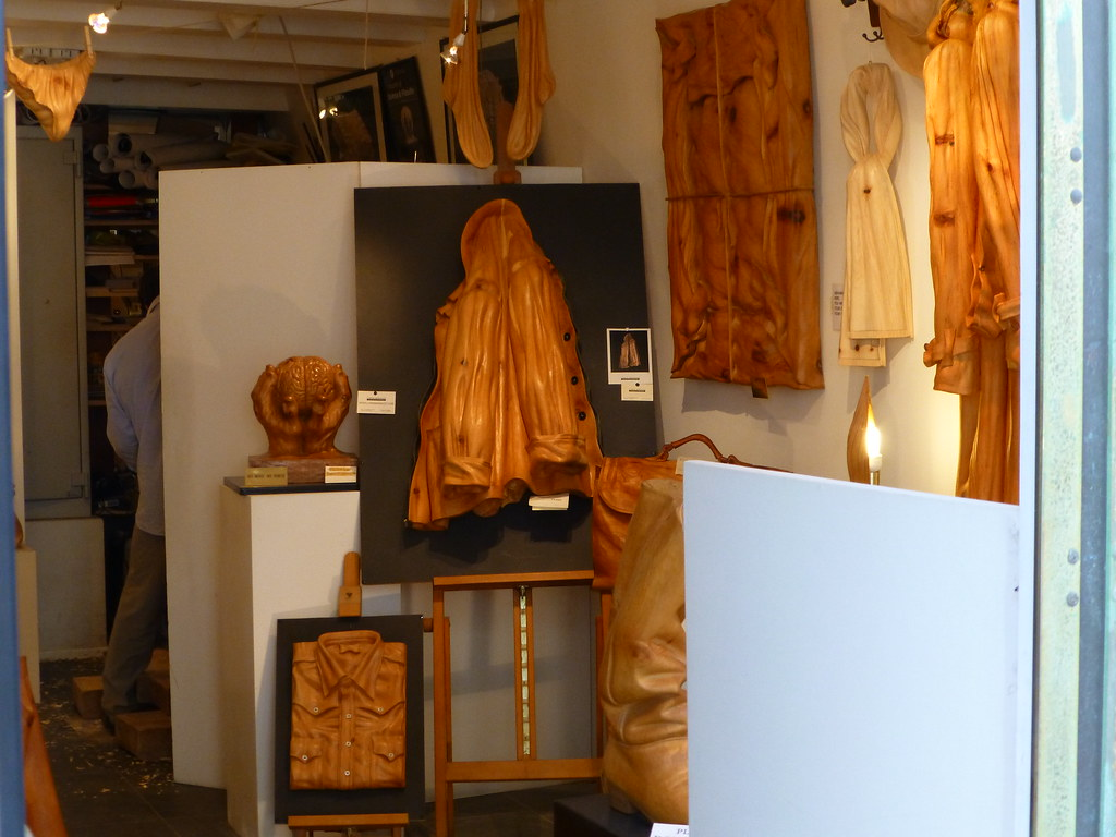 Shop selling carved wooden clothing