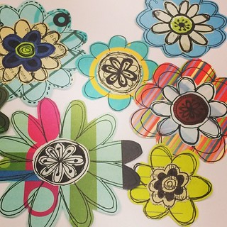 "Welcome to my garden:  Work in progress - pieced doodled paper flowers for #thethankyoupostcardproject.  Draw-cut-paste.. Repeat.  Trying to come up with at least 20.  We don't say ""Thank you"" enough.  Say it with a postcard.. Soon! #doodledflowers #perso"