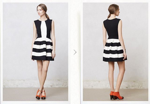 bar iii striped dress, anthropologie strata dress, black and white striped a-line dress