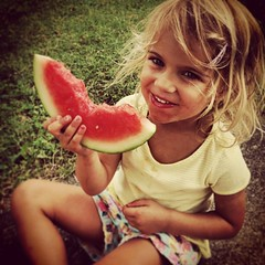 child, watermelon, hand, skin, sweetness, plant, girl, produce, fruit, food, blond, mouth, eating, toddler, smile, organ,