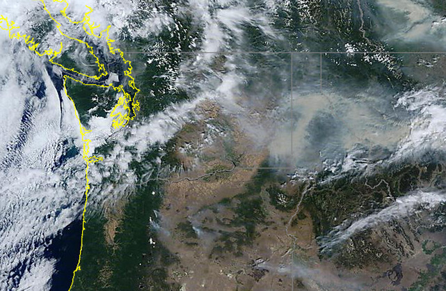 Pacific Northwest wildfire smoke from satellite
