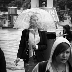 Woman with Umbrella, smoking