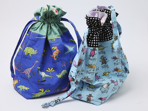 Lined drawstring bags (for superhero capes)