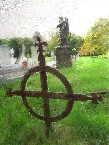 An Irish cemetery run through the photo app Psykopaint