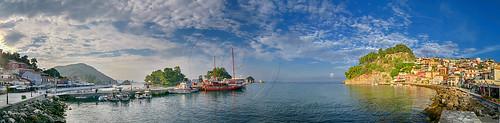 sea seascape port boat parga epirus greece hellas sky clouds castle monuments