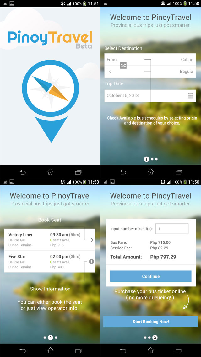 Screenshot of the mobile Android App starting screens
