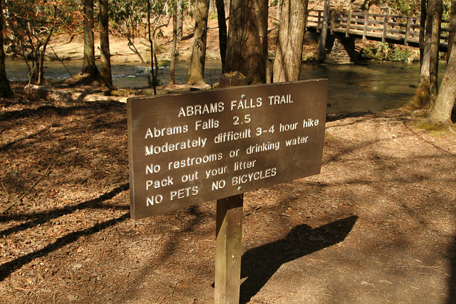 Abrams Falls Trail Sign