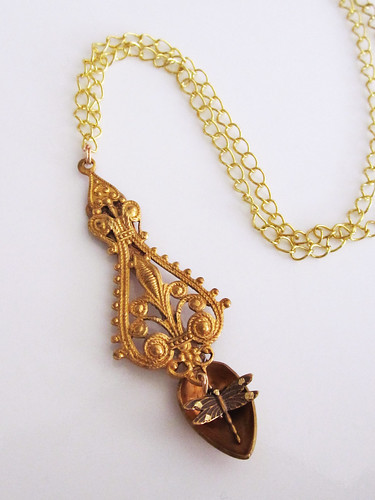 Steampunk Golden Dragonfly Spoon Pendant Photo by Sherrie Thai of ShaireProductions.com