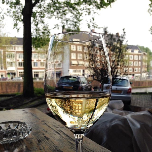 Glass of wine at Oslo Caffe, Amsterdam
