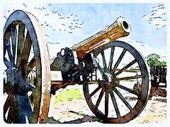 art, wheel, weapon, cannon, illustration,
