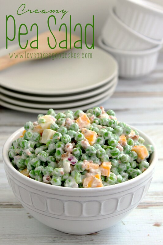 Creamy Pea Salad {Love Bakes Good Cakes} - 19+ of the BEST Summer Potluck Recipes Roundup