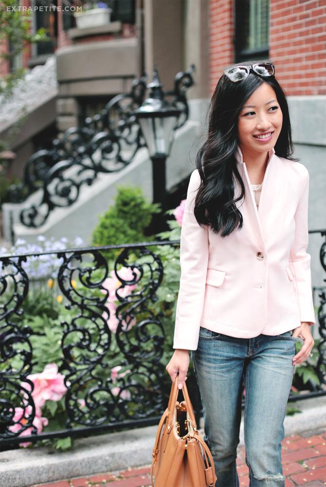 pink blazer boyfriend jeans