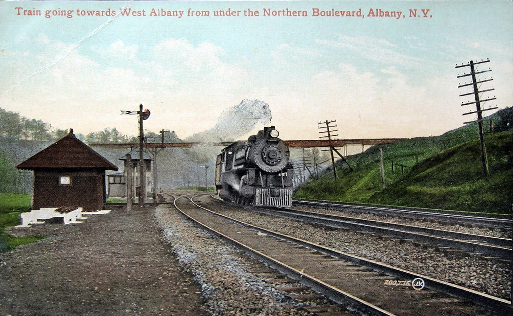 Rairoad train heading west  just past northern boulevard albany ny c 1900