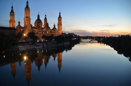 sunset españa reflection rio river spain nikon europe noflash zaragoza aragon nightscene rioebro d7000 pwpartlycloudy