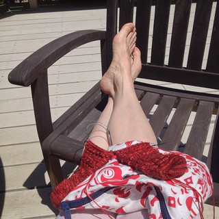 Day 7.2 Knitting on the Deck in the Sun