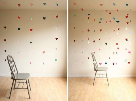 decoracion corazones colgantes